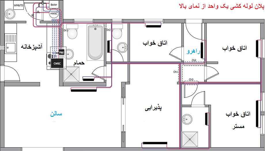نقشه لوله کشی ساختمان
